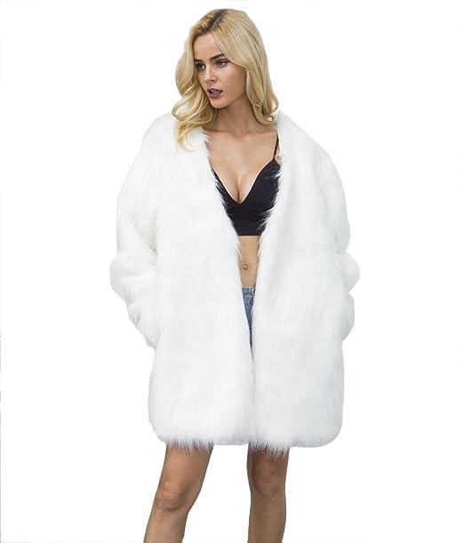 YuanDian Mujer Otoño Invierno Casual Cuello V Medio Largo Abrigos De Pelo Manga Larga Baggy Cálido Suave Imitacion Piel Sintetica Chaquetas Outwear: ...