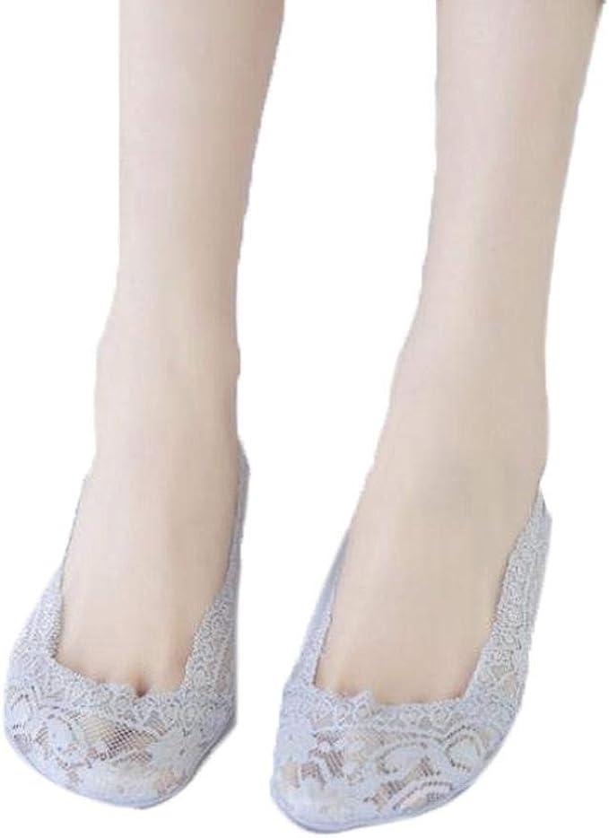 Kloius Calcetines Invisibles Mujer Calcetines de Barco de Encaje ...