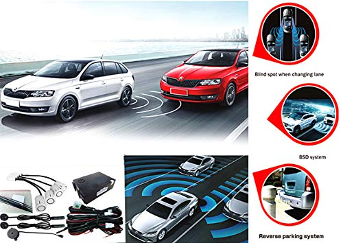 CarBest Ultrasonic Blind Spot Detection System BSD Change Lane Safer BSA BSM Blind Spot Monitoring Assistant Car Driving Security with Reverse Parking System (Universal Blind Spot Detection)