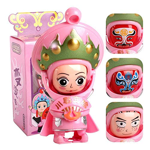 Aolvo Face-Changing Toy, Opera Doll Face Changing Doll Sichuan Traditional Chinese Toys Culture Folk Art Change Face Funny Play Gift Pink for $<!--$6.82-->