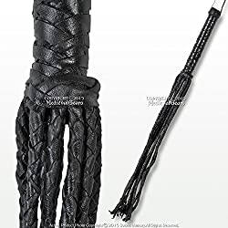"Medieval Gears Brand 24"" Cat O Nine Tail Scourge Black Leather Whip w/ 9 Individual Braided Strands"