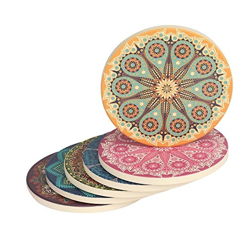 Drink Coasters, 6-Piece Absorbent Stone Non Slip Spills Coasters set with Cork Base -Protect Your Furniture from Stains,Round,Vintage,Mandala Style