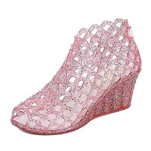 Shimmering Jane Powder - QIMOUSE Wedge Glitter Jelly High Heels, Crystal Upper Shimmering Powder Binding Bird Nest Sandals 40(Pink-A)
