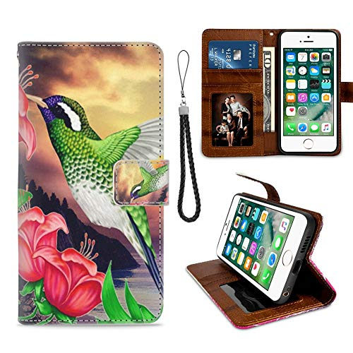 iPhone 6/6S Plus Phone Wallet Case Hummingbird Beach TPU Leather Flip Cover with Card Slot Wallet Case for iPhone 6/6S Plus (Hummingbird Iphone 6 Plus Case)