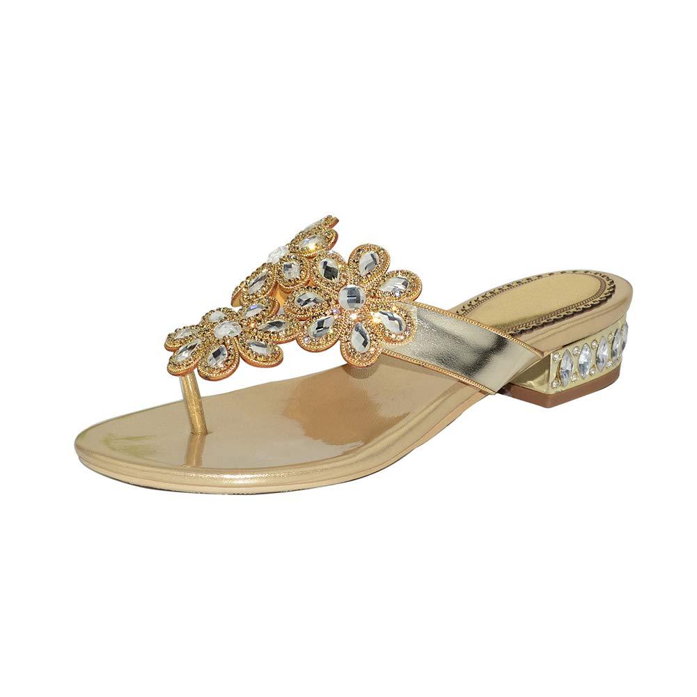 gold Women's Flat Sandals, Summer Shining Rhinestone Flip Flops, Bund Jewelry Decoration Dress Slippers