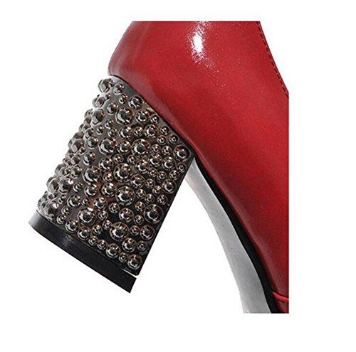 Womens pointe pointu épaisse avec des chaussures peu profonde bouche Loisir confortable chaussures de cour , red , 38