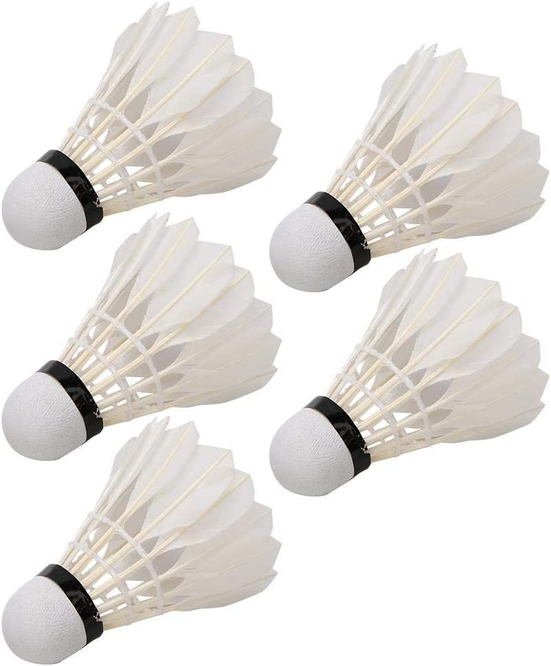Aramox Badminton Ball 5PCS Durable Feather Badminton Balls Shuttlecocks for Outdoor Indoor Training