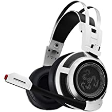 Kworld PC Gaming Over-Ear Headset with 50mm Driver&Hidden Volume Control Emphasis On Rich Bass Effect, Volume Control and Noise Isolation, White(G22)