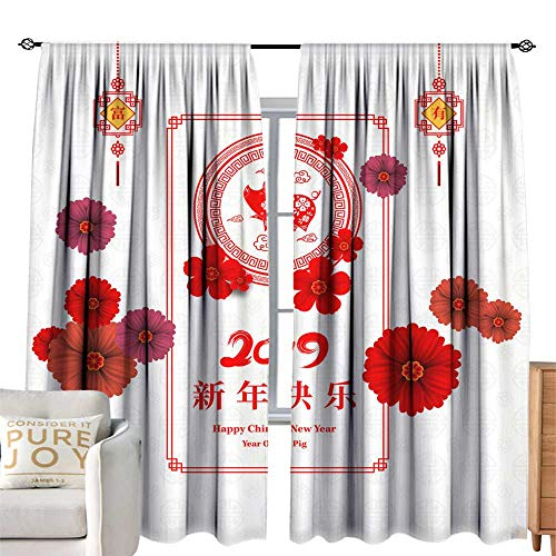 Insulated sunshade curtain Happy Chinese New Year 019 year of the pig paper cut style Chinese characters mean Happy New Year wealthy Zodiac sign for greetings card flyers invitation posters brochure b