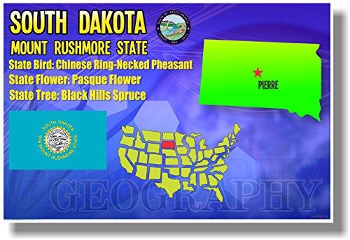 (South Dakota Geography - NEW U.S Travel Poster)
