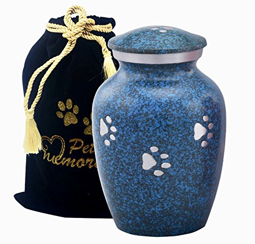 Paws to Heaven Flat Top Pet Urn - Paw Print Urn Urn - Pet Cremation Urn with Free Paw Print Bag (Marble Blue) ()