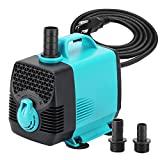 KEDSUM 550GPH Submersible Pump (2500L/H,55W), Ultra Quiet Water Pump with 10ft High Lift, Fountain Pump with 4.6ft Power Cord, 3 Nozzles for Fish Tank, Pond, Aquarium, Statuary, Hydroponics