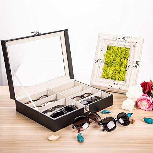 CO-Z Leather Multi Sunglasses Organizer for Women Men, Eyeglasses Eyewear Display Case, Jewelry Watch Organizer, Sunglasses Jewelry Collection Case, Sunglass Glasses Storage Holder Box with 8 Slots