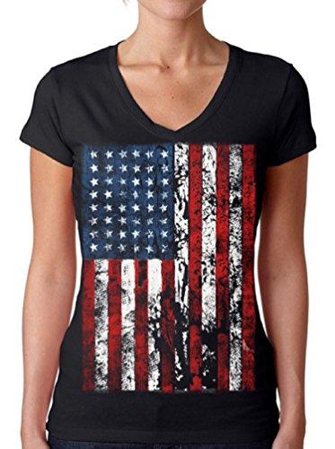Awkwardstyles Womens American Flag Distressed V-Neck Tshirt 4th July + Bookmark