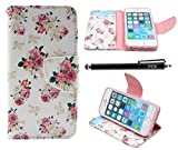 iphone 5 case vintage floral - iPhone SE Case, iPhone 5S Case Wallet, iYCK Premium PU Leather Flip Folio Carrying Magnetic Closure Protective Shell Wallet Case Cover for iPhone 5/5S/SE/5SE with Kickstand Stand - Pink Peony Flower