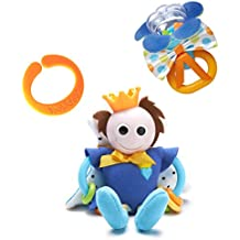 Baby Rattle and Teether Toy, Prince Edition- Teething Ring and Rattle Toy- Great for Early Motor Skill Development