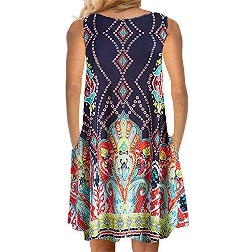 Element Print Sleeveless Dress Mujer Loose Casual Tank Vestidos (Color : Azul, tamaño : S)