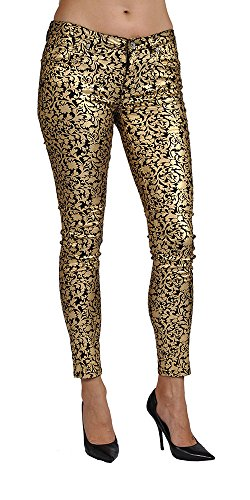 Women's Print Coated Floral Gold Skinny Jeans (11)