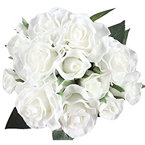 Duovlo 7 Stems of Real Touch Silk Roses Fake Floral Rose Flower DIY Wedding Bridal Bouquets Centerpieces Arrangements Home Decorations,Pack of 1 (White) 67