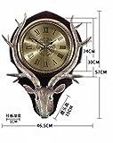 SUNQIAN-American table clock, wall clock, a living room, meaning deer head wall clock, retro European mute hanging clocks, quartz clock,B