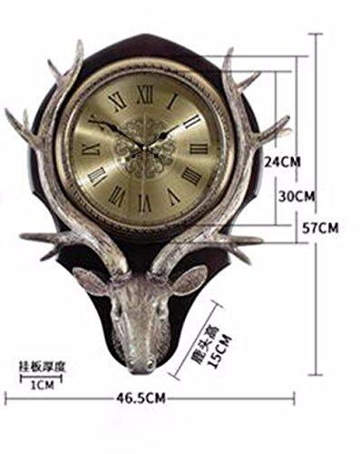SUNQIAN-American table clock, wall clock, a living room, meaning deer head wall clock, retro European mute hanging clocks, quartz clock,B by SUNQIAN