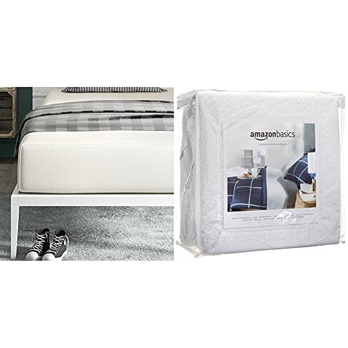 Signature Sleep Memoir 12 Inch Memory Foam Mattress with CertiPUR-US certified foam, Twin with AmazonBasics Hypoallergenic Vinyl-Free Waterproof Mattress Protector, Twin - Basic Foam Mattress