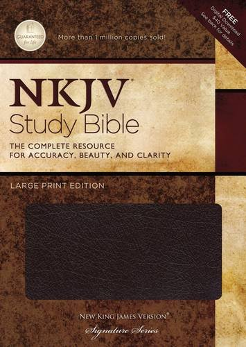 NKJV Study Bible, Large Print, Bonded Leather, Burgundy, Indexed: Large Print Edition