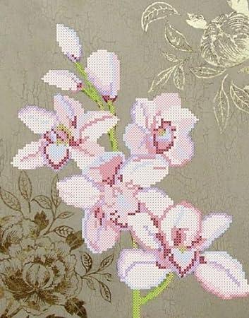 Stickbild mit Perlen Orchidee 21x27 Stickvorlage Stickpackung Stickset Stickerei