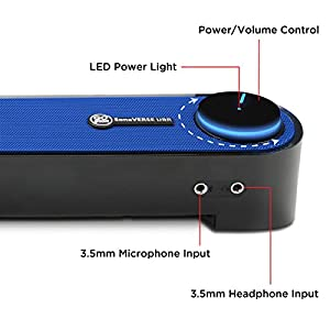 "Computer USB Powered Mini Sound Bar by GOgroove - SonaVERSE UBR Wired Soundbar Speaker 16.5"" w/Front Access Mic & Headphone Jacks, LED Volume Dial, Angled Design for Desktop, PC, Laptop (Blue)"