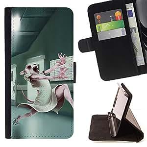 Momo Phone Case / Flip Funda de Cuero Case Cover - Pruebas con animales de laboratorio lindo del conejo de conejito blanco - Sony Xperia Z5 Compact Z5 Mini (Not for Normal Z5)