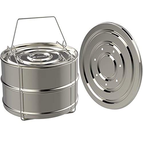 ekovana Stackable Stainless Steel Pressure Cooker Steamer Insert Pans - For Instant Pot Accessories 6 qt (Pot Stackable)