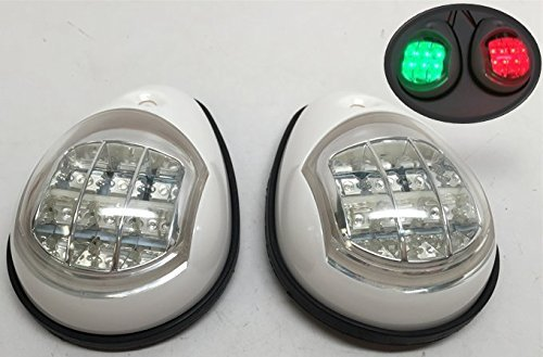 MARINE BOAT WHITE COVER GREEN STARBOARD RED PORT LED NAVIGATION LIGHT SIDE (Deck Mount Side Light)