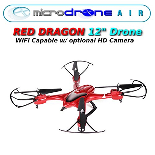 MicroDRONE Red Dragon DRONE Quadcopter w/Remote Control 12`` -optional wifi Cam .HN#GG_634T6344 G134548TY84820