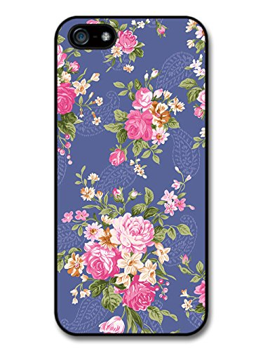 Vintage Floral Print Victorian Wallpaper on Cool Blue case for iPhone 5 5S