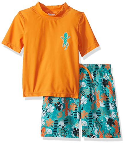 KIKO & MAX Little Boys' Swimsuit Set with Short Sleeve Rashguard Swim Shirt, Orange Gecko, 5