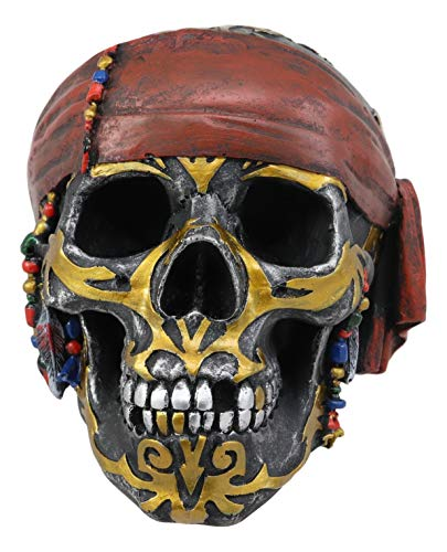 Ebros Tribal Gold Tattoo Pirate Skull with Red Bandana Statue Nautical Halloween Fantasy Pirates Skulls Gothic Spooky Macabre Figurine Skeleton Bones Cranium Decor ()