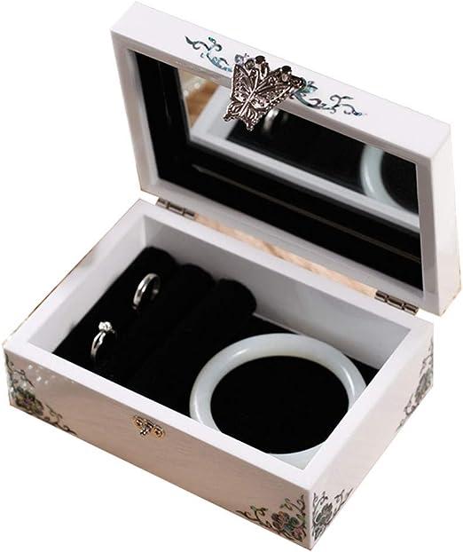 Joyero Organizador de Reloj Estuche de exhibición de joyería Organizador de Anillo Hecho a Mano Madre de Pearl Sea Shell Inlay Tapa de Espejo para Hombres Mujeres Armarios Cajas: Amazon.es: Hogar