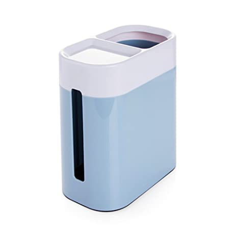 Plastic Countertop Trash Can Mini Waste Bin Table Top Trash Can With Tissue  Box (Blue