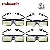 Emgreat ® 3D Active Shutter Glasses Bluetooth Eyewear Glasses for Samsung/Panasonic/LG Bluetooth 3D TVs (4 PCS)
