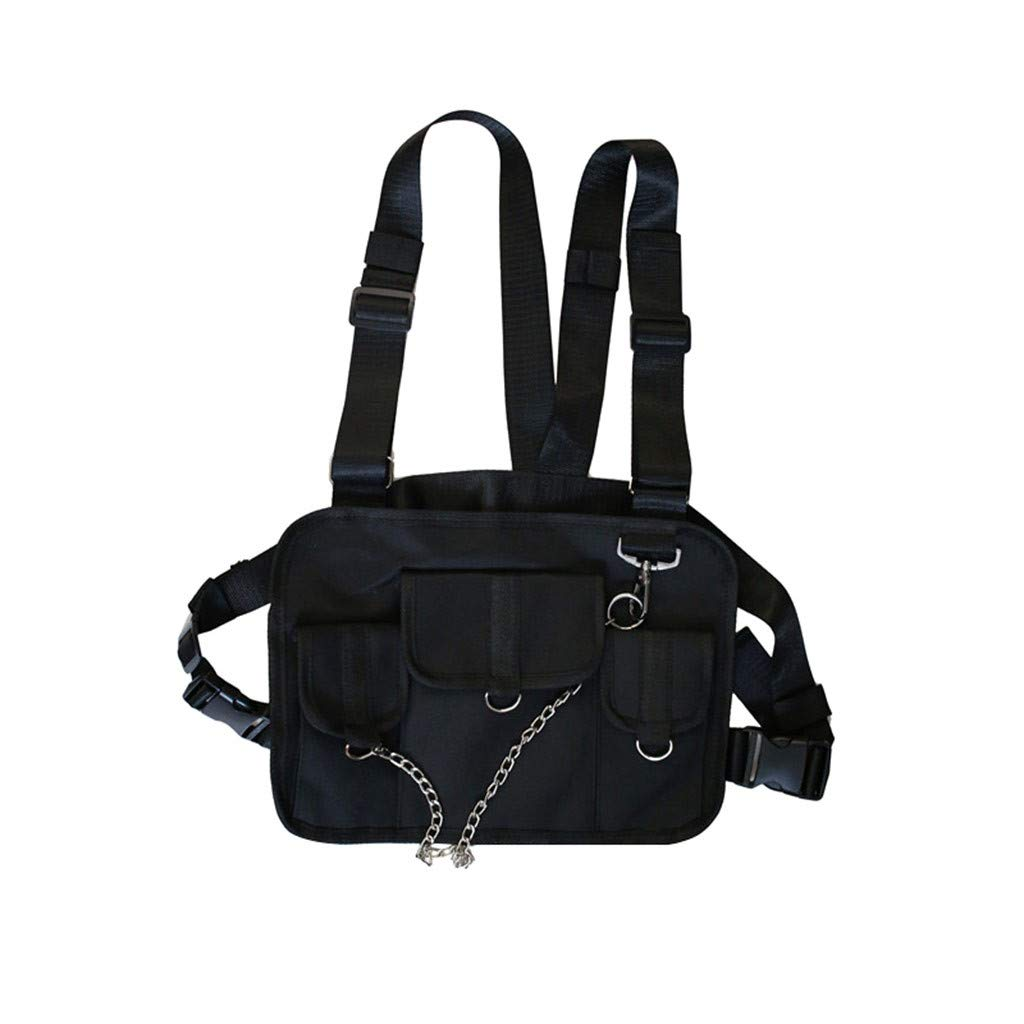 Unisex Tactical Multi-function Sling Chest Bag Strap Vest Bicycle Travel Gym Backpack (Black) by QQ1980s