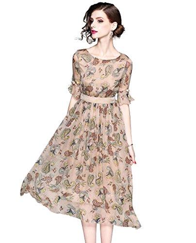 Sleeve Floral Print Casual Boho A-line Flare Midi Dress (0/2, Half Sleeve) ()