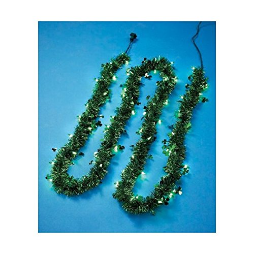 St Patrick's Day Lighted Tinsel Garland