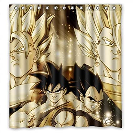 HomeFamily MOMO Dragon Ball Z Waterproof Polyester Bathroom Shower Curtain With Hooks 66