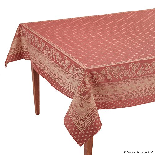 Occitan Imports Durance Red Jacquard Rectangular French Tablecloth, 63 x 138 (10-12 People) (French Tablecloths Polyester)
