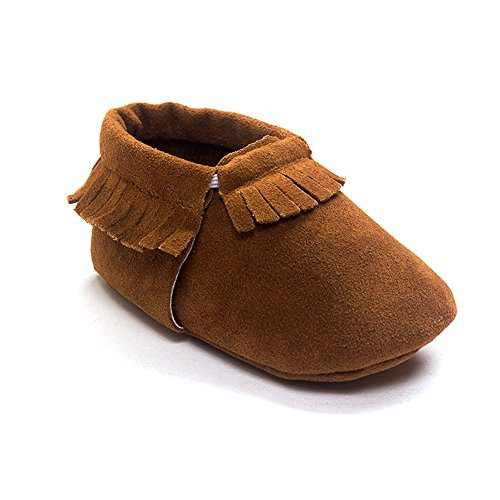 Kuner Baby Boys Girls Tassel Soft soled Non-Slip Crib Shoes Moccasins First Walkers (11cm(0-6months), Brown) ()