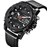 Sport Watches Men Analog Digital Display Black Leahter Military Waterproof Light Chronograph Alarm Date Dual Time Wrist Watch