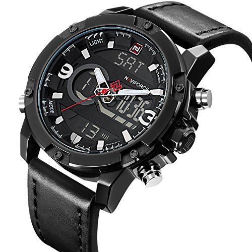 Sport Watches Men Analog Digital Display Black Leahter Military Waterproof Light Chronograph Alarm Date Dual Time Wrist (Dual Time Chronograph)