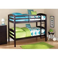 Sturdy Mainstays Twin Over Twin Wood Bunk Bed, Multiple Finishes (Espresso)