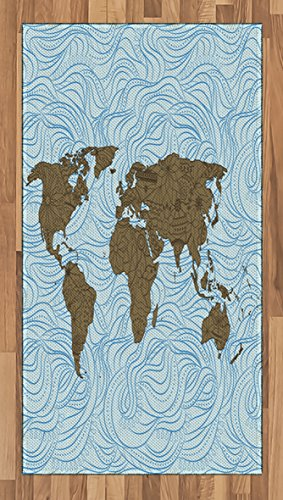 Rug Cocoa Flower (Ambesonne Modern Area Rug, World Map with Wavy Ocean Lines and Flower Themed Continent Icons Artful Image, Flat Woven Accent Rug for Living Room Bedroom Dining Room, 2.6 x 5 FT, Cocoa Pale Blue)
