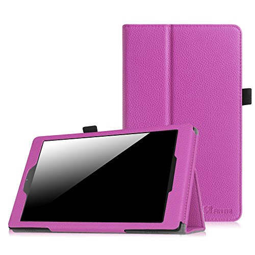 Fintie Folio Case for Amazon Fire HD 8 (Previous Generation - 6th) 2016 release - Slim Fit Premium Vegan Leather Standing Protective Cover With Auto Wake / Sleep, Violet